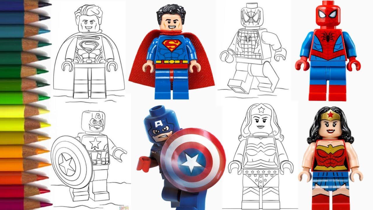 MEWARNAI LEGO SPIDERMAN CAPTAIN AMERICA SUPERMAN
