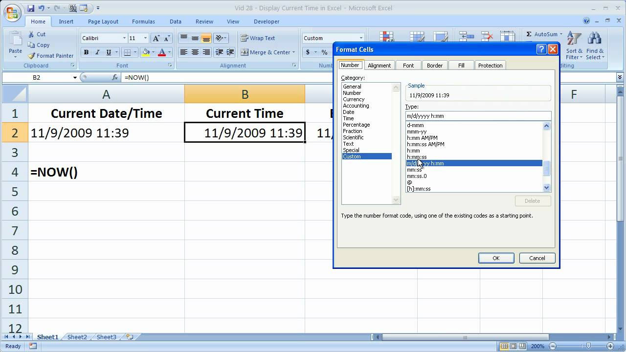 excel tips 28 display the current time in excel down to the second