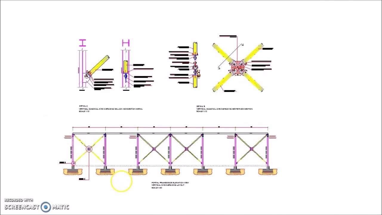 Steel Portal Frames Vertical CHS X Bracing Details - YouTube