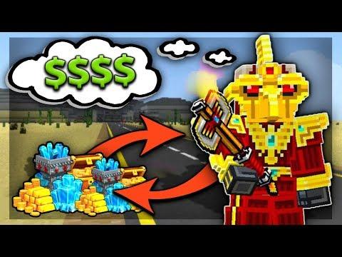 Pixel Gun 3D RICHEST Player! (All GOLD Weapon Skins Gameplay)