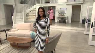 Liz Claiborne New York Bateau Neck Striped Dress with Jayne Brown