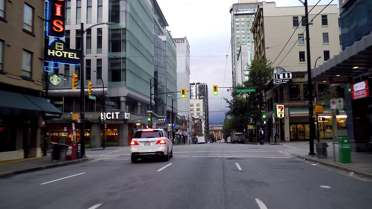 Downtown Vancouver Canada Driving In City Centre Morning Drive 2018