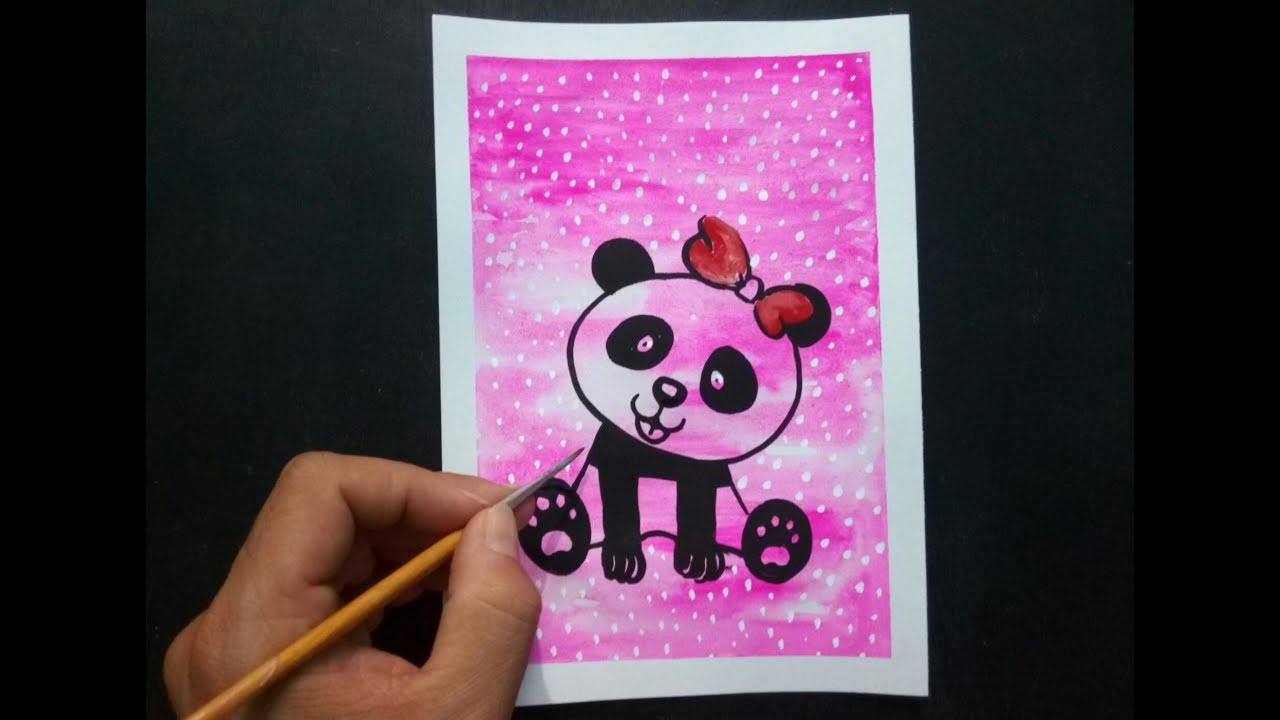 Easy Painting Ideas For Kids Step By Tutorial Cute Panda Drawing Youtube