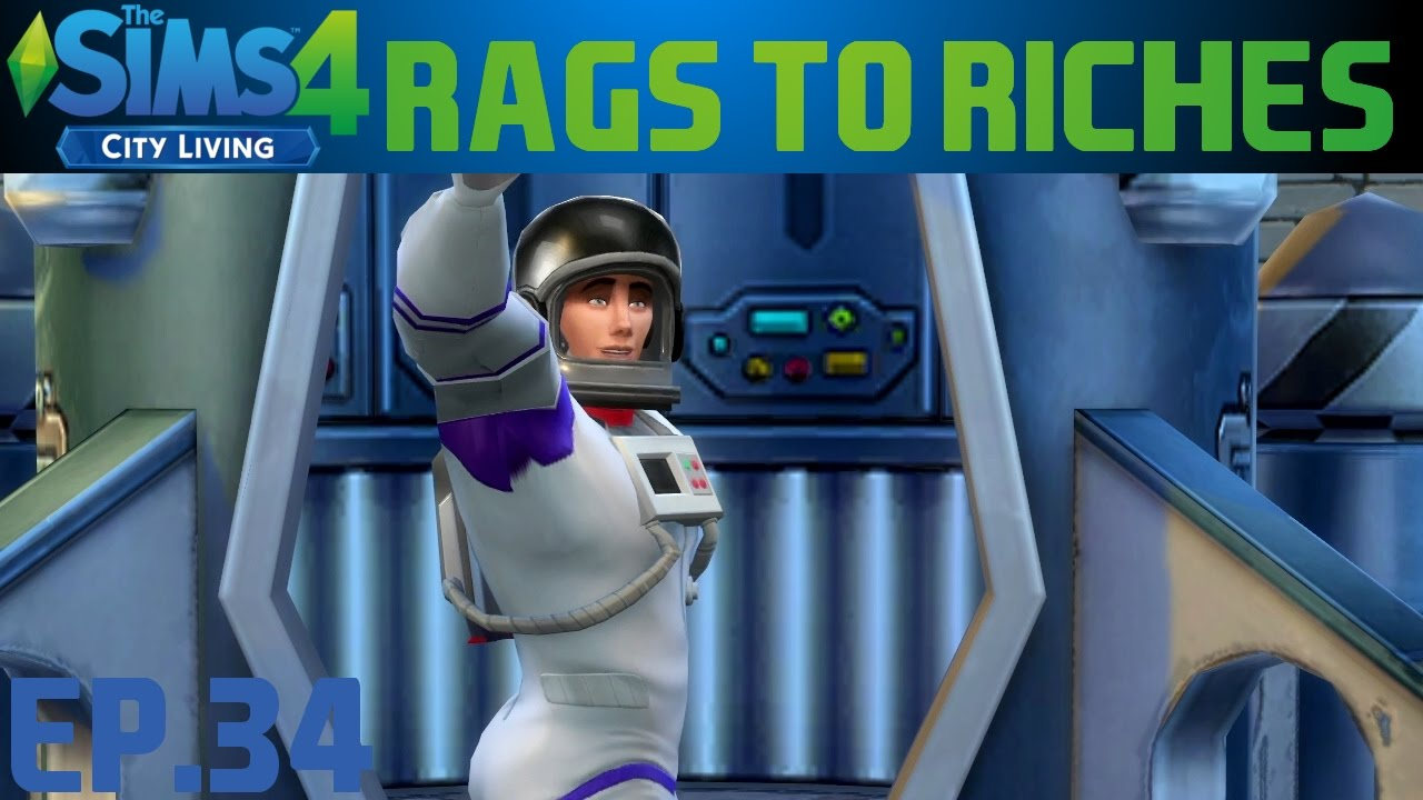 The Sims 4 City Living Rags To Riches Challenge   Ep 34 - Early Space  Mission! & TODDLER!!