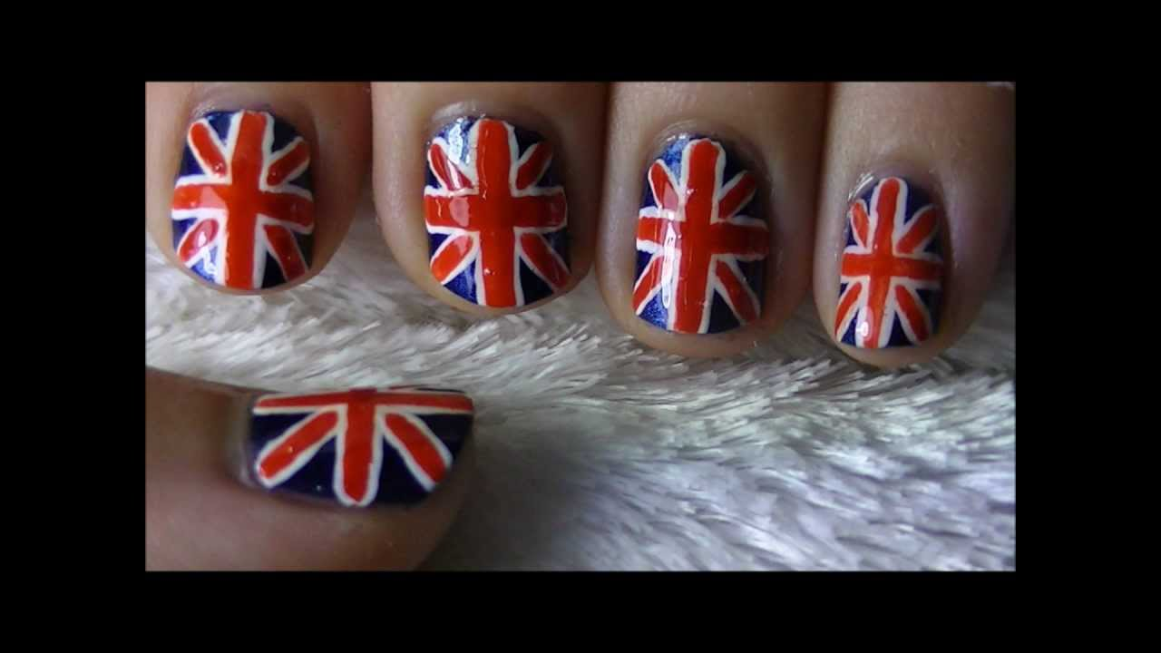 Union jack british flag nail art youtube prinsesfo Image collections