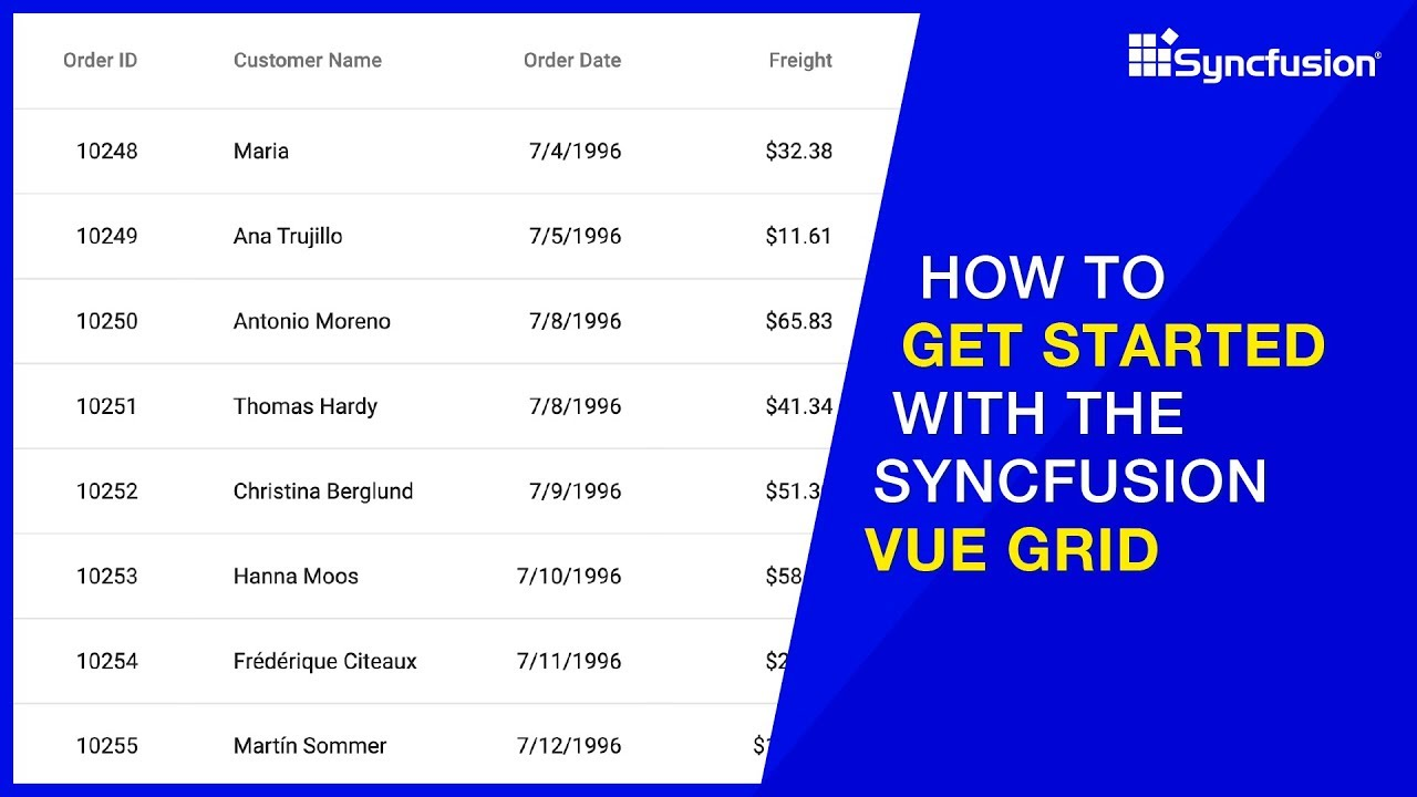 How to Get Started with the Syncfusion Vue Grid