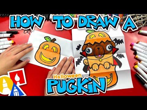 How To Draw A Cute Pug In A Pumpkin - A Pugkin!