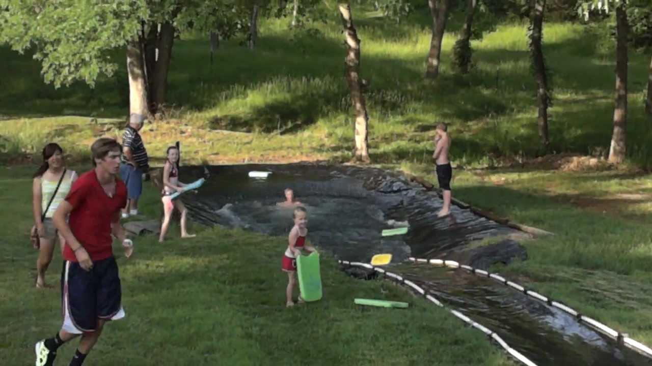 Homemade water slide - YouTube