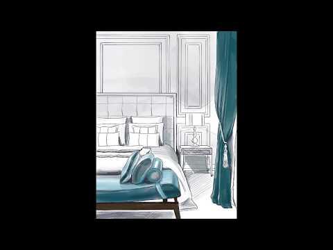 Дизайн интерьера. Экспрессивная спальня. Эскиз