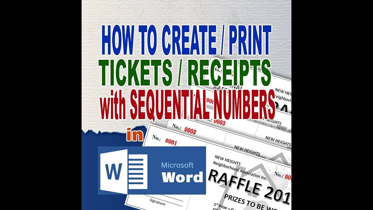 Raffle Tickets Sequential Numbering In Ms Word Youtube Create numbered tickets in word