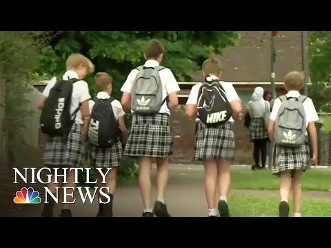 British Schoolboys Wear Skirts During Heatwave In Uniform Protest | NBC Nightly News