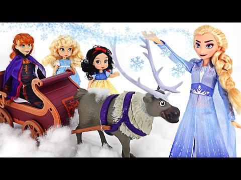 겨울왕국2 엘사, 안나, 스벤 출동! 마녀를 무찌르고 백설공주, 신데렐라를 구하자! | 핑키팝토이