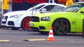 Audi TT RS vs Dodge Charger SRT8 Drag Race Viertelmeile 1/4 Meile Beschleunigung Rennen Acceleration