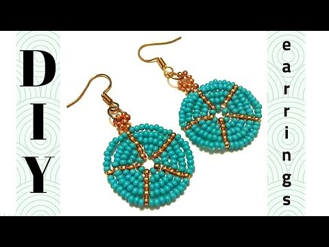 Earrings making tutorial. beaded earrings. Simple pattern for diy earrings