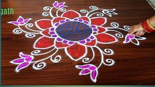 #SIMPLE DAILY RANGOLI DESIGN FOR BEGINNERS WITH 5 DOTS MADE EASY TO DRAW FOR EVERYONE
