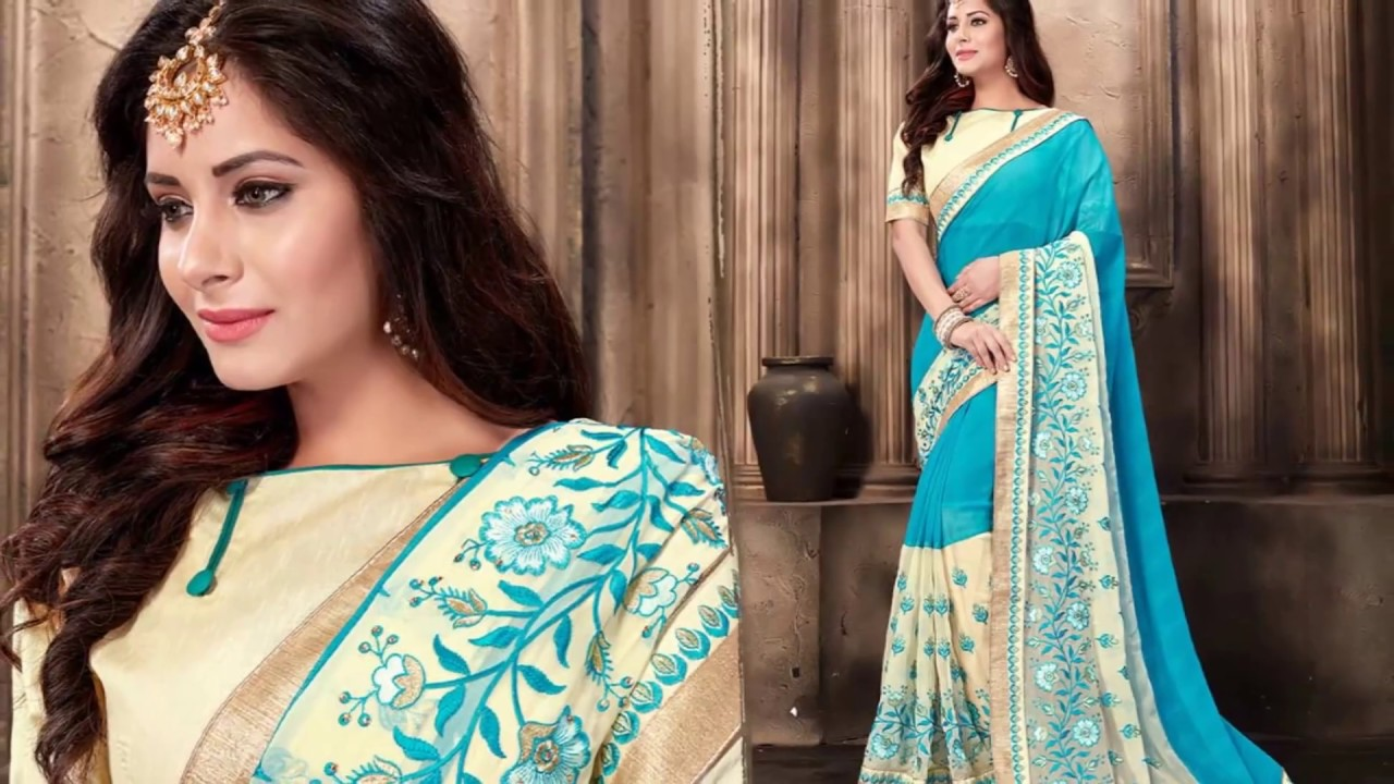 a51388858a Fancy Designer Georgette Saree Blouse Designs: New Modern & Trendy Party  Wear Sarees Draping Styles.
