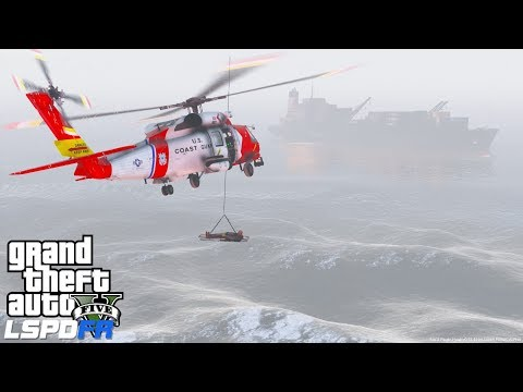 GTA 5 LSPDFR Coastal Callouts - Victim Fell Off Of A Cargo Ship During Medevac Helicopter Rescue