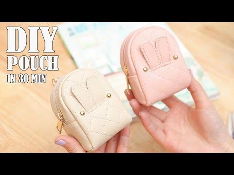 DIY LOVELY POUCH BAG // Zipper Purse Bag Tutorial PU Lather Design thumbnail