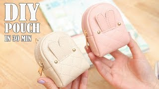 DIY LOVELY POUCH BAG // Zipper Purse Bag Tutorial PU Lather Design
