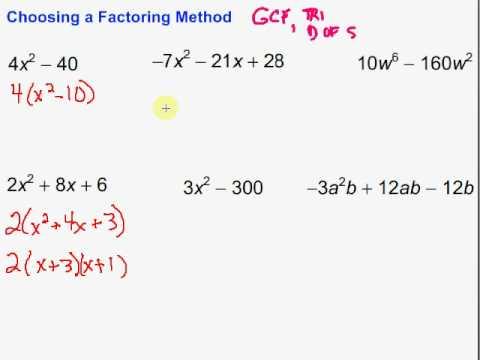 choosing a factoring method youtube