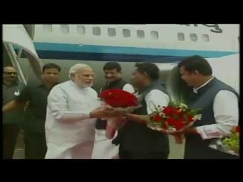 PM Narendra Modi arrives in Mumbai