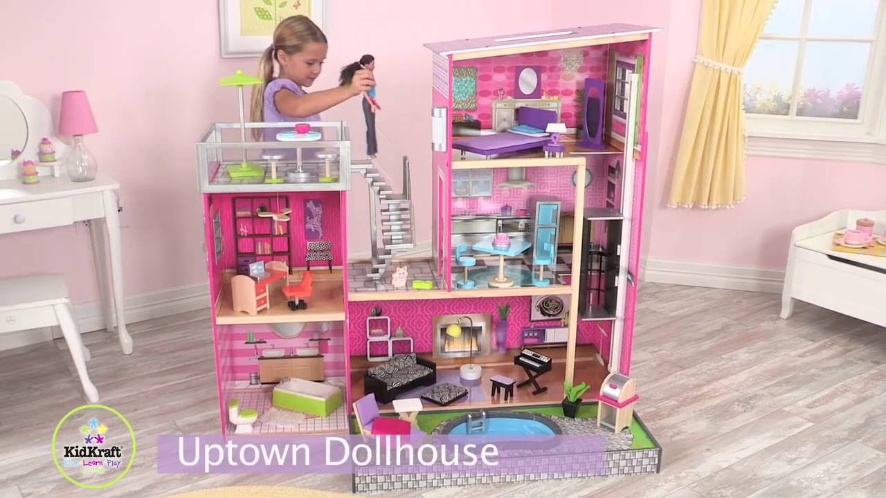 Kidkraft uptown barbiehuis 65833 youtube for Barbiehuis meubels