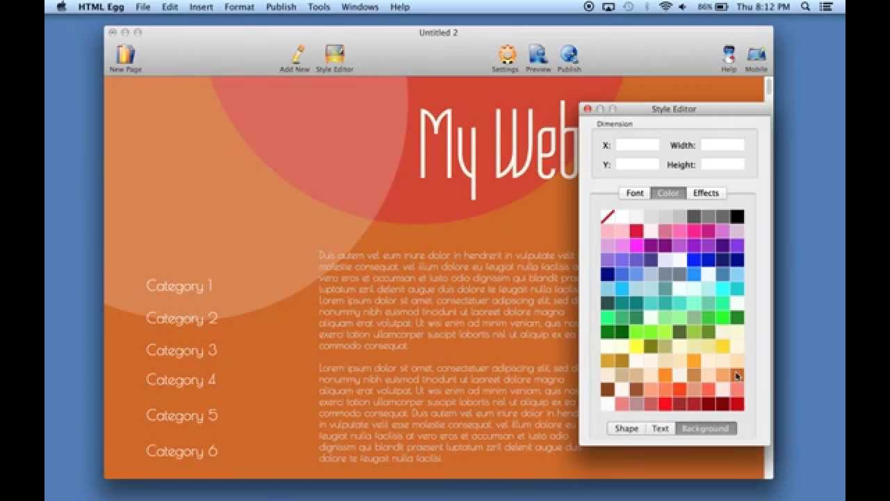 how to change your web page background color using html egg for mac