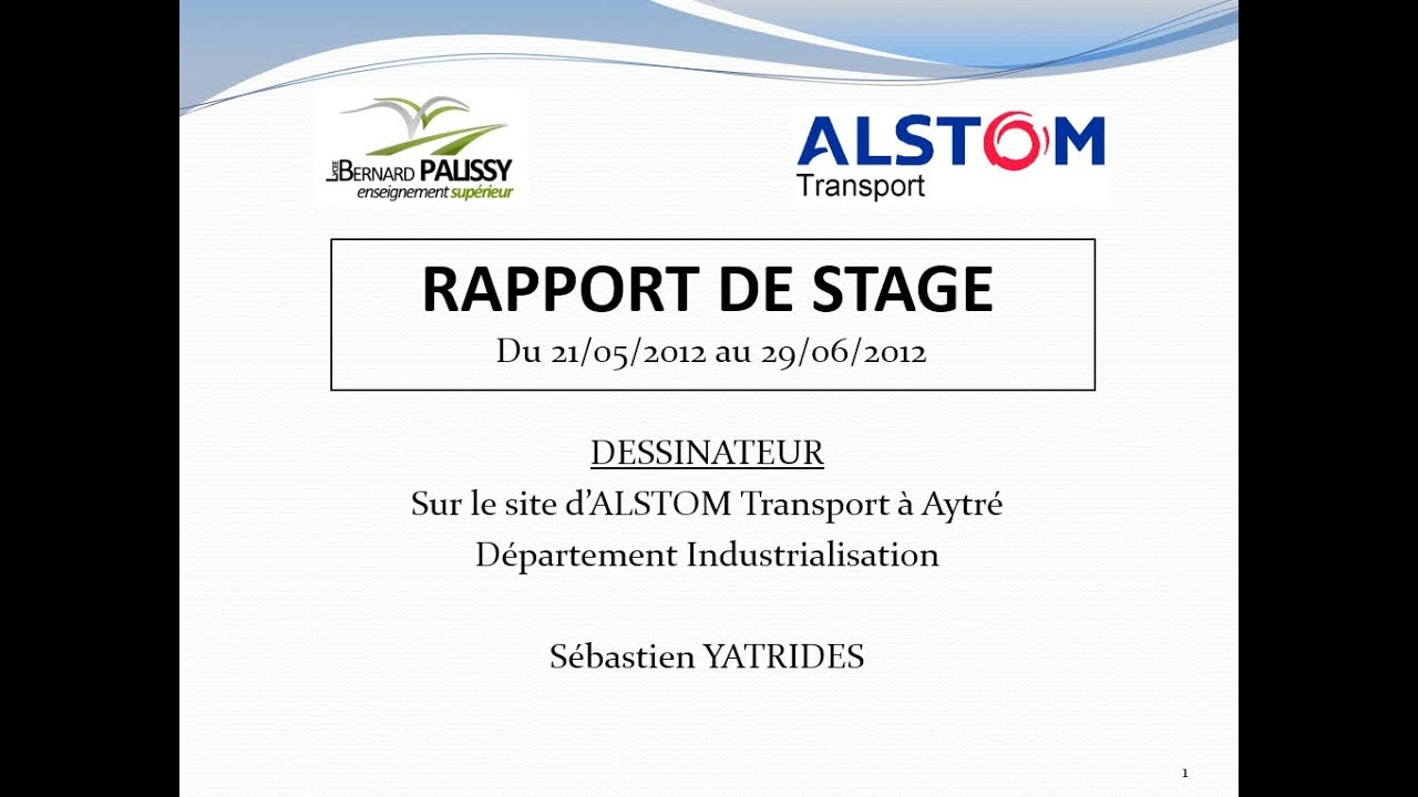 Alstom Soutenance Du Rapport De Stage Industriel Youtube