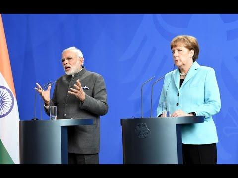 PM Modi with German Chancellor Angela Merkel at the Press Statement