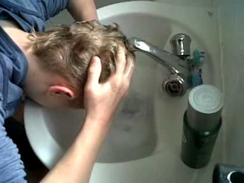 Brother Decided To Wash His Hair In The Sink With Shower Gel.