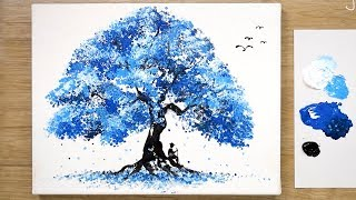Traveler / Blue Tree Painting Technique / Art Hacks