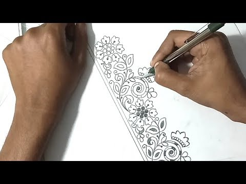 How to saree border designs drawing border embroidery designs pencil sketch