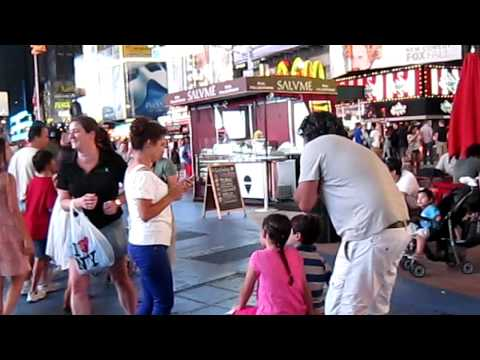 Baglan and Akmaral in Times Square NYC