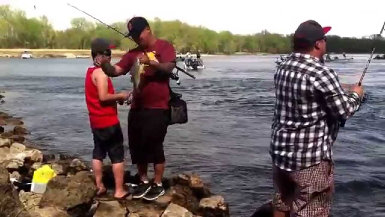 White bass fishing at red wing dam 2015 youtube for Red wing fishing report