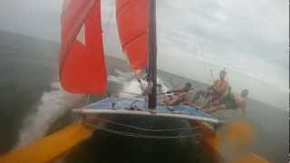 Hobie 16 Nantucket Extreme Sailing. Pitchpoles, Hull Flying, Waves, and Pabst.