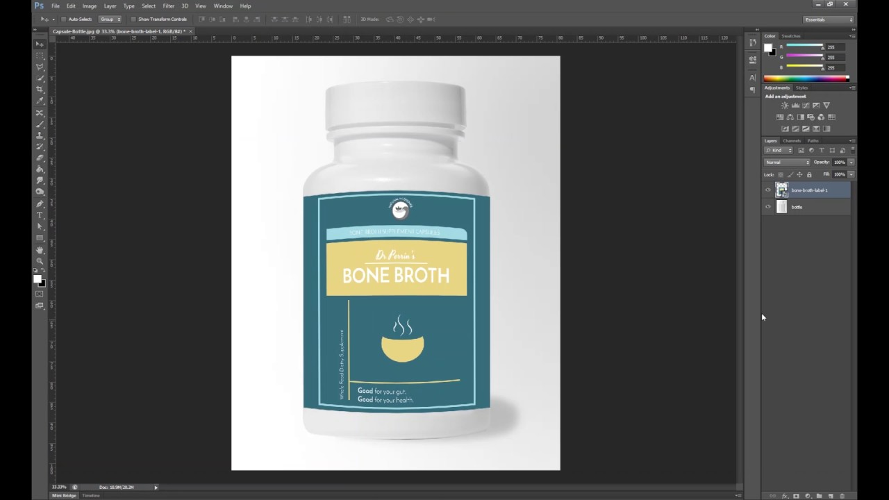 Photoshop Tutorial - Create a Mock Up for a product label using ...