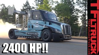 homepage tile video photo for 2,400 HP Freightliner Pikes Peak Hill Climb Race Truck Is Porsche...