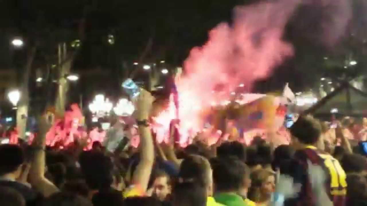 Barcelona-Athletic Bilbao 3-1 Festa Copa del Rey 2015 Rambla e Plaça Catalunya