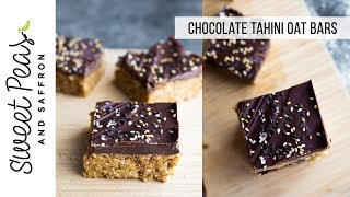Chocolate Tahini Oat Bars