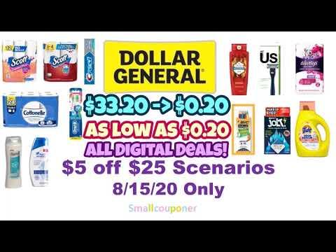 Dollar General $5 Off $25 Scenarios 8/15/20! All Digital Deals!