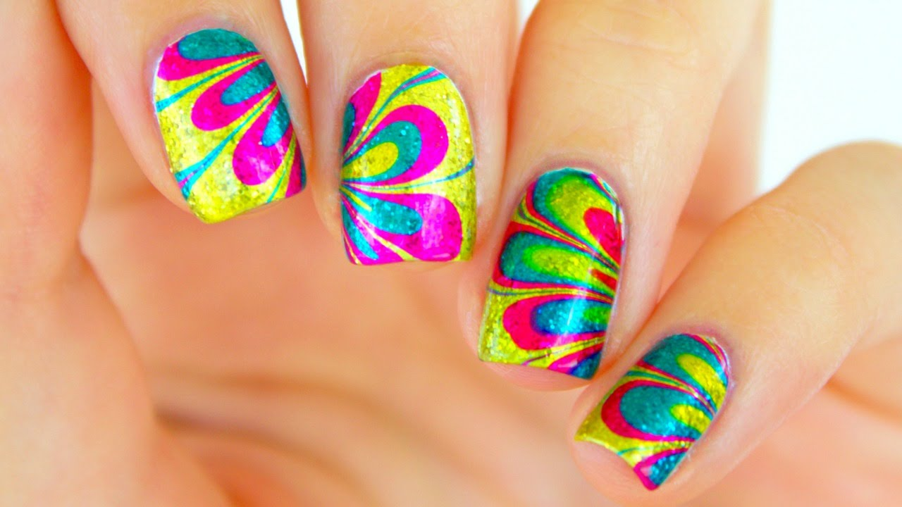 How to water marble nail tutorial rainbow watermarble nails how to water marble nail tutorial rainbow watermarble nails prinsesfo Image collections