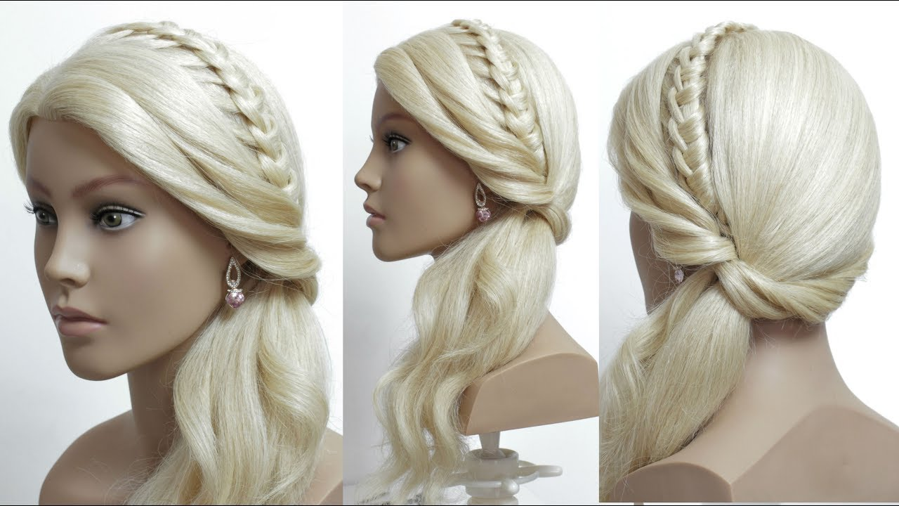 Hairstyle For Long Hair Tutorial. Knotted Headband & Ponytail - YouTube