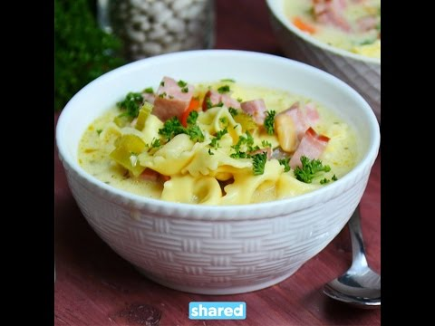 One Pot White Bean, Ham And Tortellini Soup