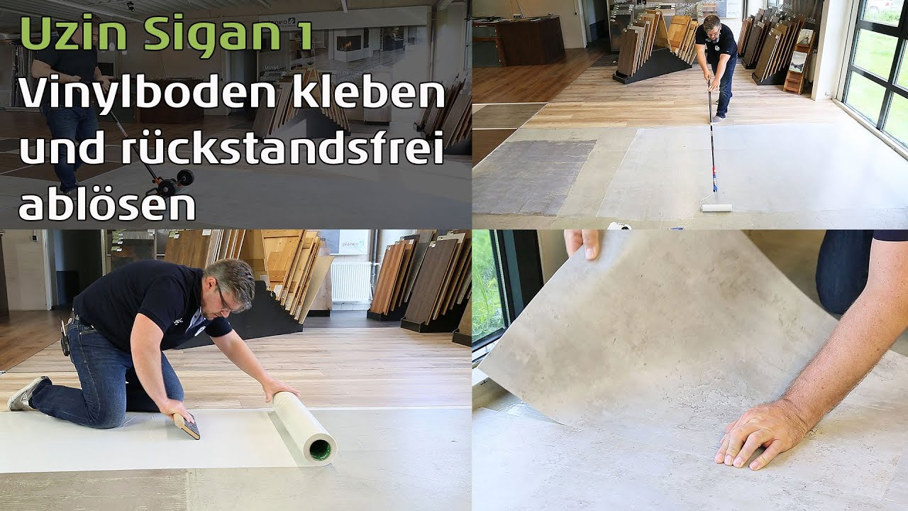 vinylboden kleben und r ckstandsfrei abl sen mit uzin sigan 1 youtube. Black Bedroom Furniture Sets. Home Design Ideas