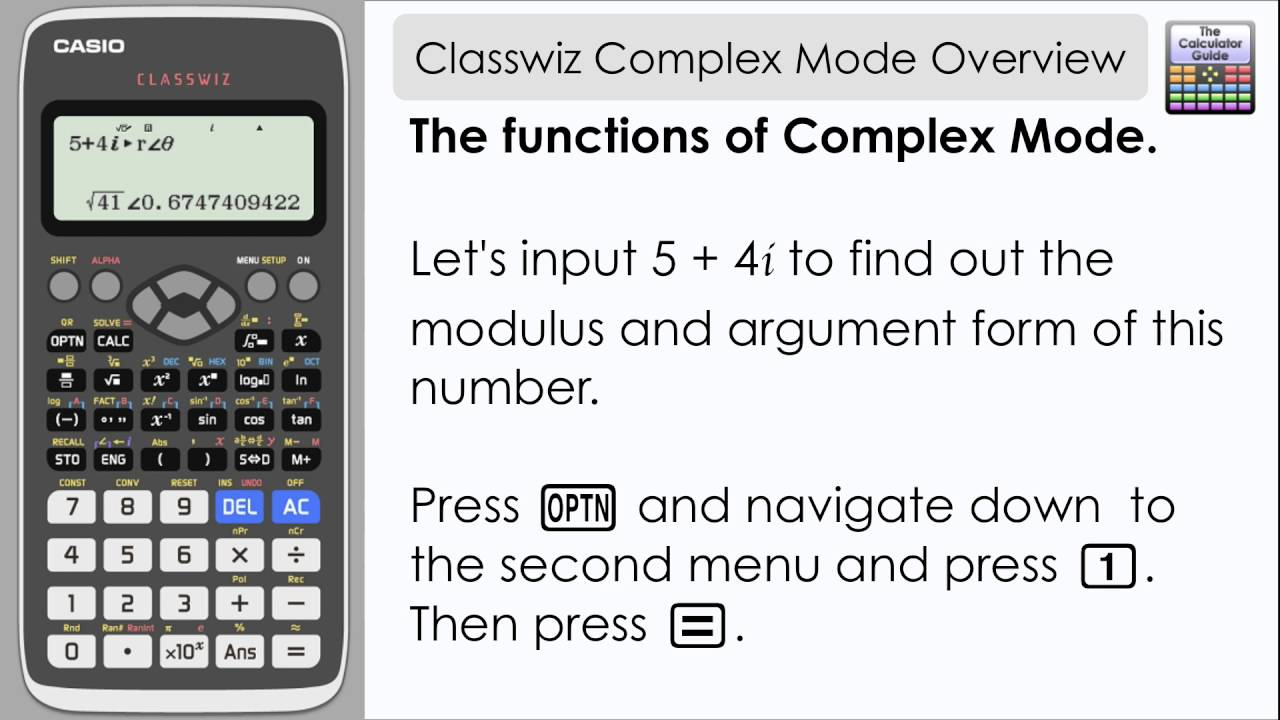Casio classwiz complex mode modulus argument and cartesian form casio classwiz complex mode modulus argument and cartesian form casio calculator 991ex youtube falaconquin