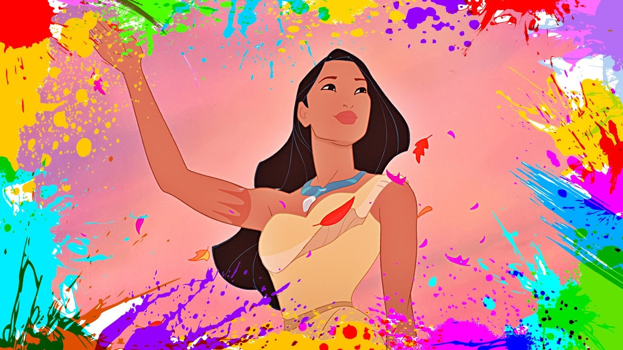 Painting Pocahontas | Coloring Book Pages for Kids | Paint and color ...