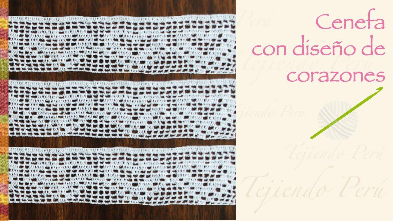 Cenefa con diseño de corazón tejida a crochet - YouTube