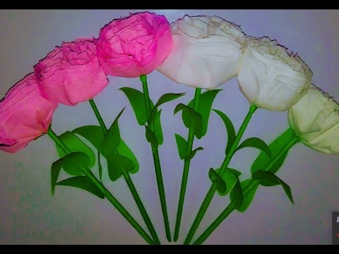How To Make A Rose Flower  Using By Tissue Paper  Tissue paper Flower CRAFT MOSHAI ShawoN 