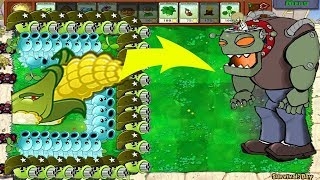1 Cob Cannon vs Snow Pea vs Gatling Pea Plants vs Zombies