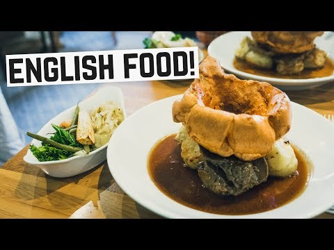 English Food - Sunday Roast, Bangers & Mash and Bubble & Squeak! (Americans try British Food)